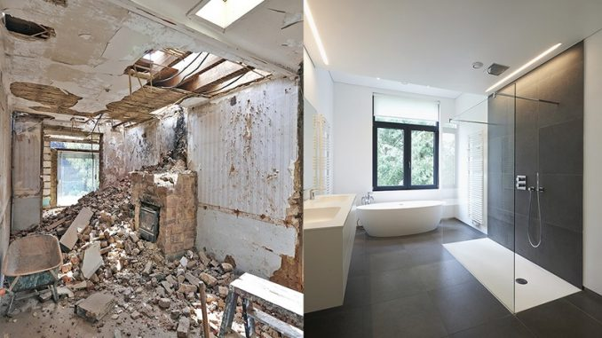 Renovation of a bathroom Before and after in horizontal format